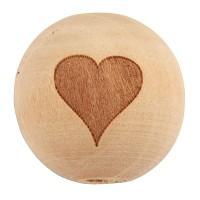 Holzperle Kugel mit Herz, Durchmesser ca. 20 mm, natur
