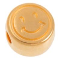 Metallperle, rund, Smiley, Durchmesser 7 mm, vergoldet