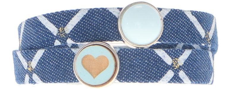 Breites Armband für Slider aus Jeansband Herz