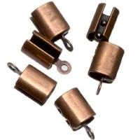 6 Endkappen für Bänder bis 4 mm, antik kupferfarben