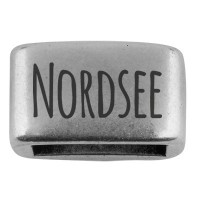 """Zwischenstück mit Gravur """"Nordsee"""", 14 x 8,5 mm, versilbert, geeignet für 5 mm Segelseil"""