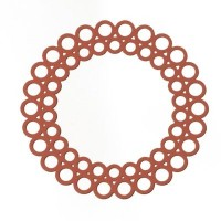 Metallanhänger Boho Rund filigran, 35 x 35 mm, koralle