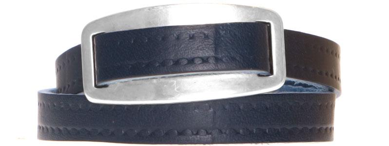 Lederarmband mit geprägtem breitem Lederband dunkelblau