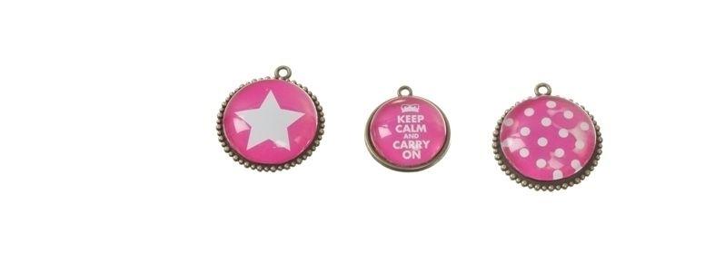 Cabochon Anhänger Pink