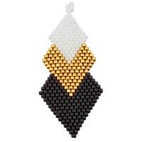 Handgefädeltes Ornament aus japanischen Rocailles, Anhänger in Rhombenform, schwarz-goldfarben-weiß,