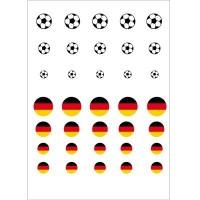 "Motivbogen, 12, 16, 20 mm, rund, ""Fahne & Fußball"", 35 Motive, Cabochonvorlagen"