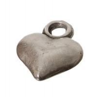 Metallanhänger Herz, ca. 13  mm, versilbert