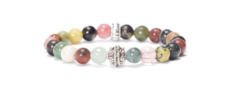 Armband mit bunten Edelsteinkugeln Mix I