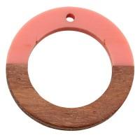Anhänger aus Holz und Resin, Ring, 28 x 3,0 mm, Öse 1,5 mm, rosa