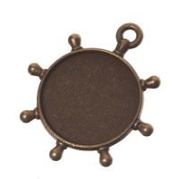 Anhänger für Cabochons Steuerrad, rund 20 mm, bronzefarben