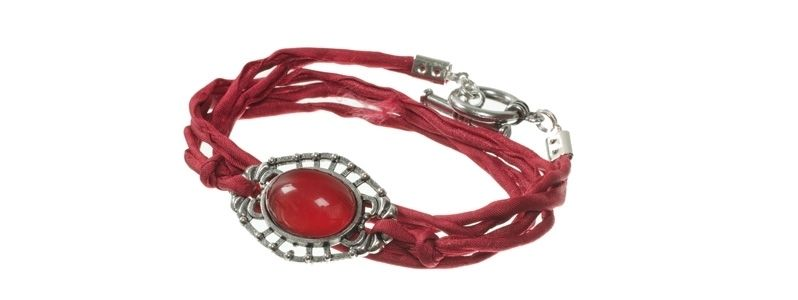 Cabochon Armband Rot
