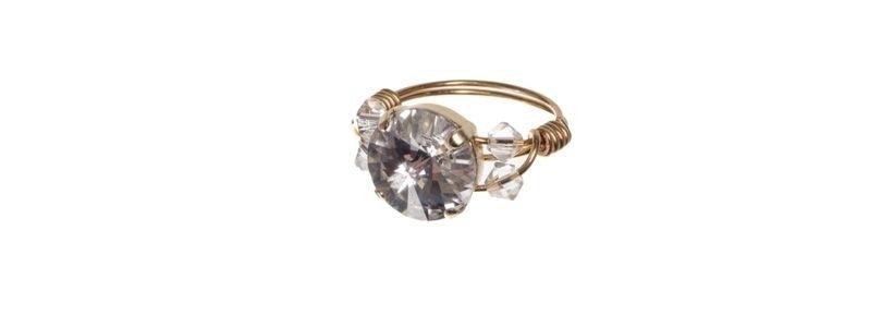 Goldige Ringe mit Swarovski Rivoli Crystal