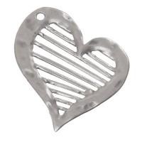 Metallanhänger Herz, XXL-Anhänger, 61 x 58 mm, versilbert