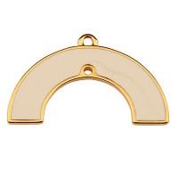 Metallanhänger Halbkreis mit einem Loch, 18 x 29,5 mm, weiß emailliert, vergoldet