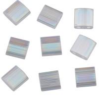 Miyuki Tila Bead 5 mm, crystal silk satin AB, Röhrchen mit ca. 7,2 gr