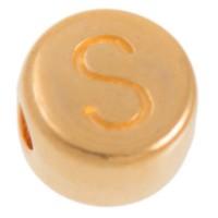 Metallperle, S Buchstabe, rund, Durchmesser 7 mm, vergoldet