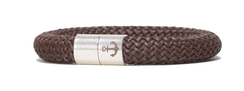 Armband mit Segelseil 10 mm und Magnetverschluss braun