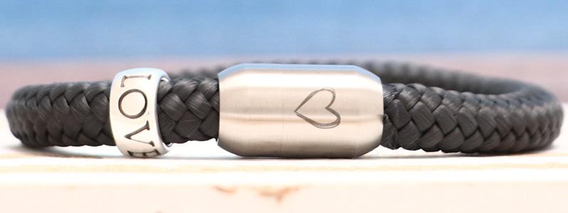 Segeltauarmband mit 8 mm Segeltau Herz