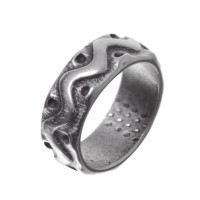 Metallperle mit Großloch, Ring, 15 x 5,5 mm, versilbert