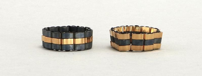 Gefädelter Ring mit Half-Tila-Perlen Grau-Gold