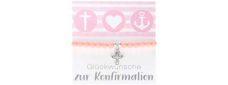 Armband zur Konfirmation Kreuz und Crystal Pearls