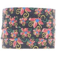 Denim Baumwollband, dunkelblau mit Blumenmuster, 10 x 2 mm, Länge 1 m