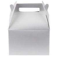 Geschenkverpackung mit Griff, weiß, 7,2 x 5,7 x 5,2 cm