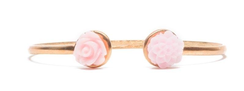 Armreif mit Blumencabochon Rosa
