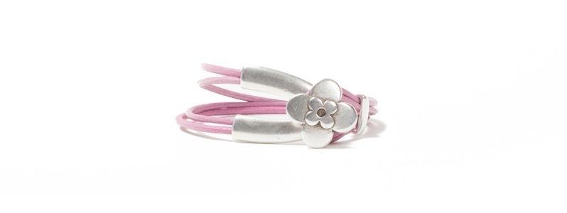 Armband Metall & Leder Blume