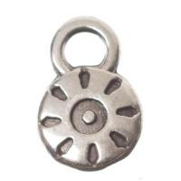 Metallanhänger Minicharm Sonne, Durchmesser 9 x 6 mm, versilbert
