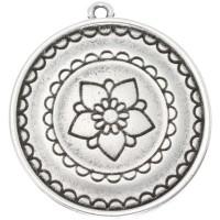 Metallanhänger Mandala, versilbert, ca. 30 mm