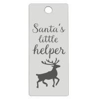 Edelstahl Anhänger, Rechteck, 16 x 38 mm, Motiv: Santa's little helper, silberfarben