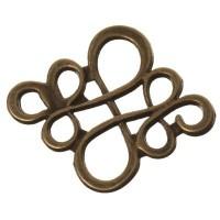 CM Metallanhänger Chinesischer Knoten, 22 x 18 mm, bronzefarben