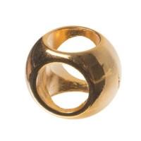 Metallperle Kugel, Kreuzloch für Kreuze, 7 x 10 mm, vergoldet