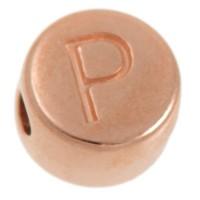 Metallperle, P Buchstabe, rund, Durchmesser 7 mm, rosevergoldet