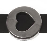 Metallperle Slider / Schiebeperle Scheibe Herz, versilbert, ca. 18 x 18 mm
