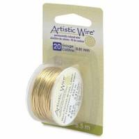 Beadalon Artistic Wire (Modellierdraht), 20 Gauge (0,81 mm), messingfarben, Rolle mit 6 yd (5,5 m)
