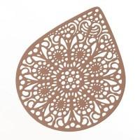 Metallanhänger Boho filigran, 49 x 39 mm, beige