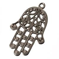 Metallanhänger Hamsa, 50 x 32mm, versilbert