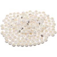 Kunststoffperlen Buchstabe, runde Scheibe, 10 mm, weiß mit goldener Schrift, 200 Stück
