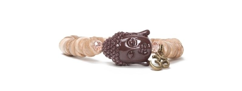 Armband Kokosperlen Natur Buddha