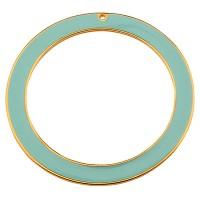 Metallanhänger Ring, Durchmesser 55 mm, mit 2 Löchern, aqua emailliert, vergoldet