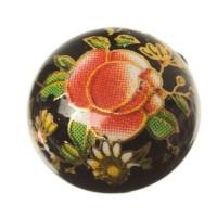 Cabochon bedruckt, Blumenmuster, rund, Durchmesser 12 mm, schwarz