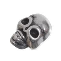 Metallperle, Totenkopf, 9 mm, versilbert