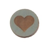 Holzcabochon, rund, Durchmesser 12 mm, Motiv Herz, hellblau