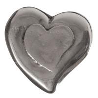 Pin für Armreifen, Herz, 25 mm, versilbert