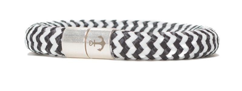 Armband mit Segelseil 10 mm und Magnetverschluss schwarz gestreift