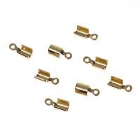 8 Endkappen für Bänder bis 2 mm, goldfarben