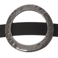 Metallperle Slider / Schiebeperle Scheibe, versilbert, ca. 37 mm