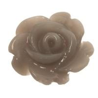 Kunststoffcabochon Rose, 7 x 3 mm, dunkelgrau